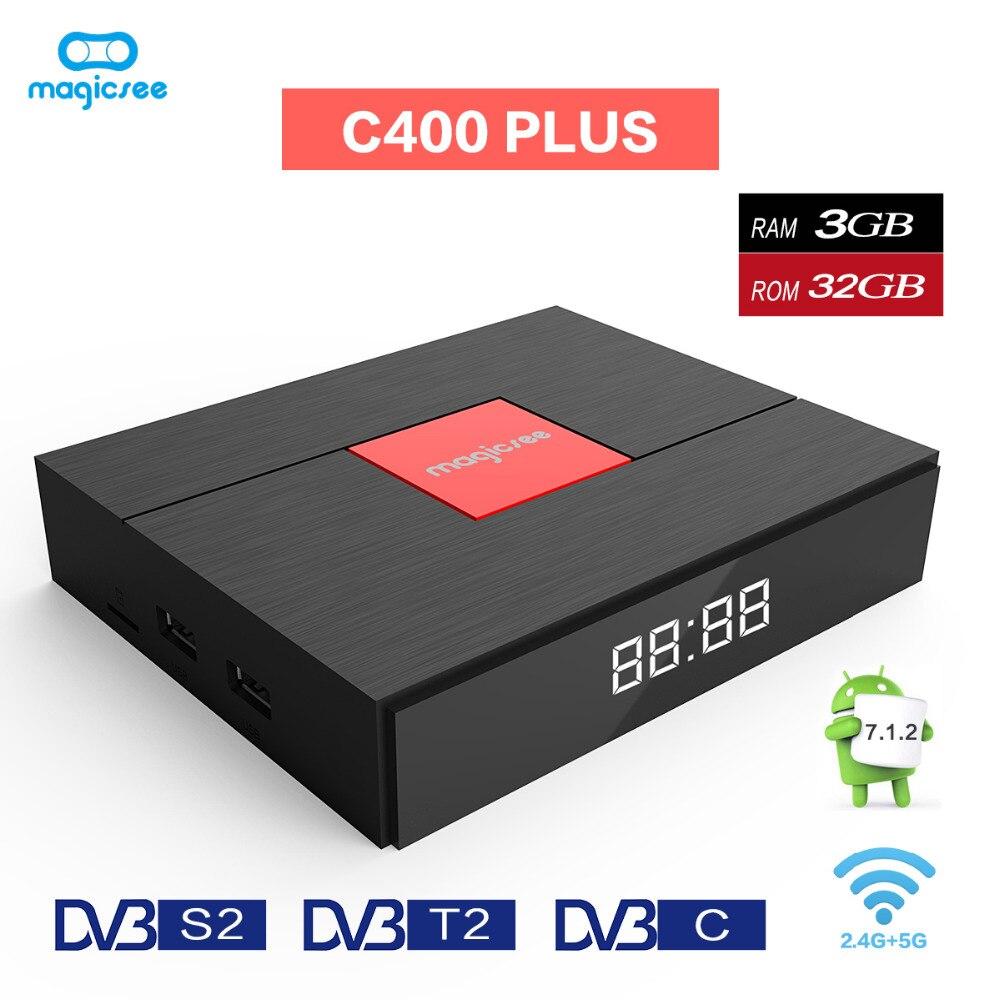 Magicsee C400 más Amlogic S912 Octa Core TV caja 3 + 32 GB Android 4 K Smart TV caja DVB-S2 DVB-T2 Cable Dual WiFi Media Player