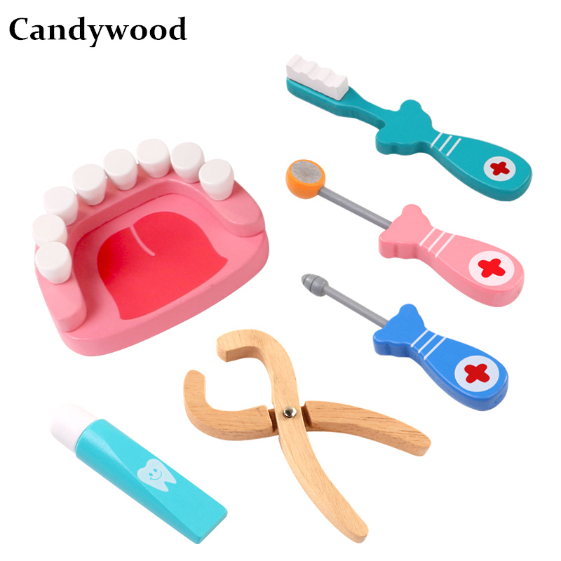 Candywood 6Pcs/set Wooden Cosplay Doctor game Dental Pretend Doctor accessories Tools Protect teeth Dentist toy boy girl Kids ...