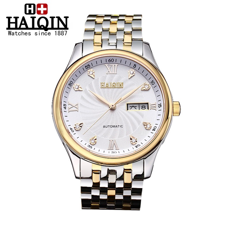 Hot Sale mens Watches Top Fashion Luxury Brand HAIQIN male Clock Calendar Display Waterproof Automatic  Mechanical Wristwatches men mechanical watches new burei top luxury brand male business clock calendar steel band waterproof automatic watch hot sale