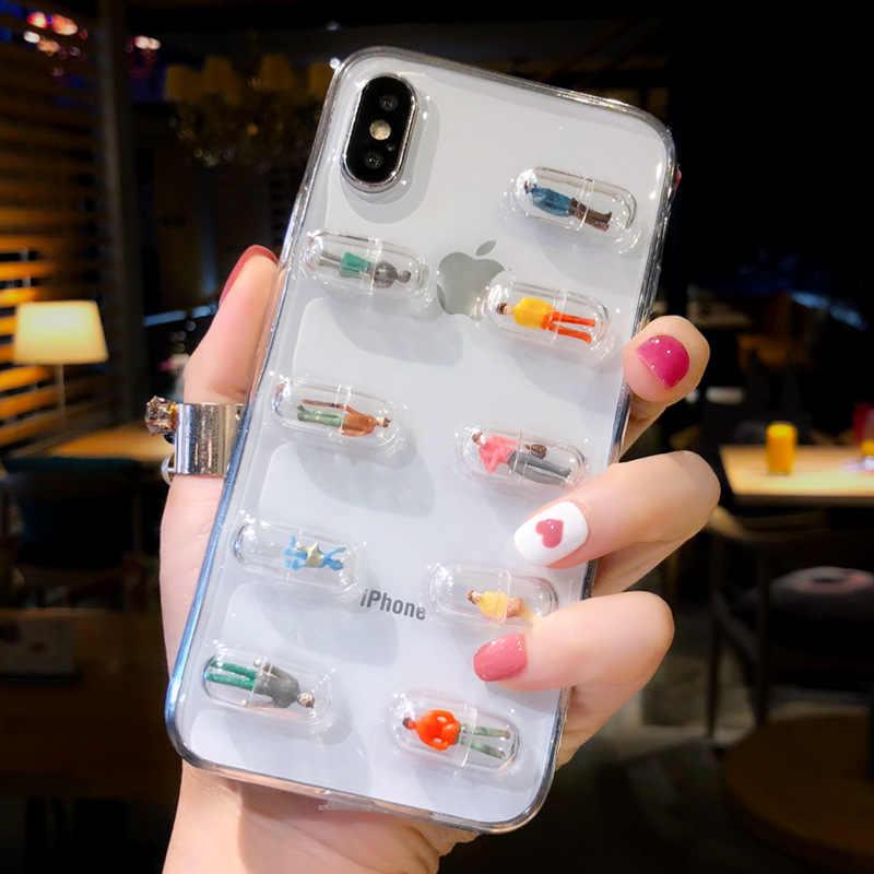 Jisoncase Transparente 3D Cápsula Do Comprimido Caixa Do Telefone para iphone 6 6 S Plus Personagem Dos Desenhos Animados Macio TPU Claro Tampa Traseira