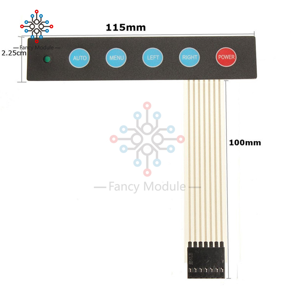 US $0 75 19% OFF|LED 1x5 Matrix Array 5 Key Membrane Switch Keypad Keyboard  Menu Auto For Arduino-in Instrument Parts & Accessories from Tools on