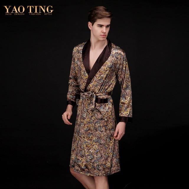 New High Quality Real Men Bathrobe Geometric Imperial Pattern Robes V-neck Imitation Silk Sleepwear Long Sleeve Nightwear Robe