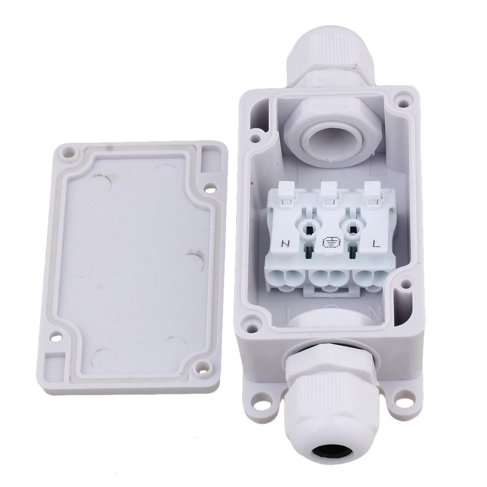 Waterproof 2 way IP65 Outdoor Junction Box with P02-D3 Terminal White