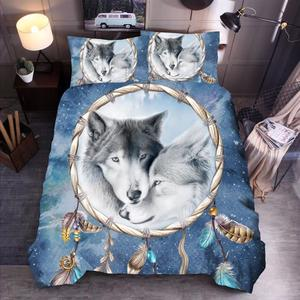 Image 2 - LOVINSUNSHINE 3D Wolf King/queen/twin Size 3pcs Bedding Set Of Duvet Cover Bed  Pillow Cases Comforter Bed Sets xx05#