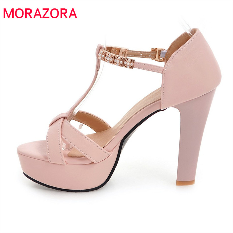 MORAZORA new arrive women sandals elegant sweet rhinestone fashion peep toe Pink wedding shoes size 32-45 high heels shoes woman morazora 2018 new women sandals summer sweet bowknot comfortable buckle spike high heels platform shoes peep toe shoes woman