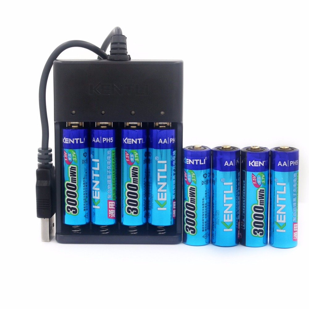 NEW 8pcs KENTLI 1.5v 3000mWh rechargeable Lithium AA PH5 battery+1 charger
