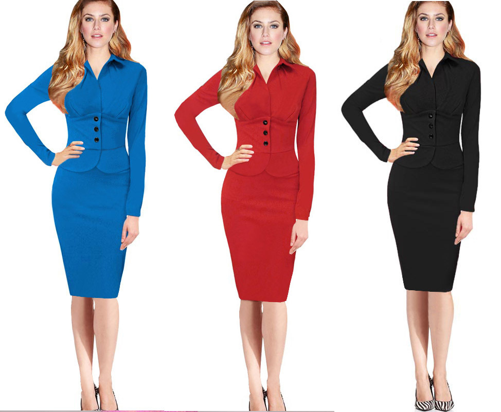Aliexpress.com : Buy Black blue red Business dress styles elegant ...