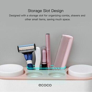 ECOCO Suporte de escova de dentes de montagem na parede Dispensador automático de creme dental Escova de dentes Pasta de dentes Copo de armazenamento Acessórios para banheiro 1