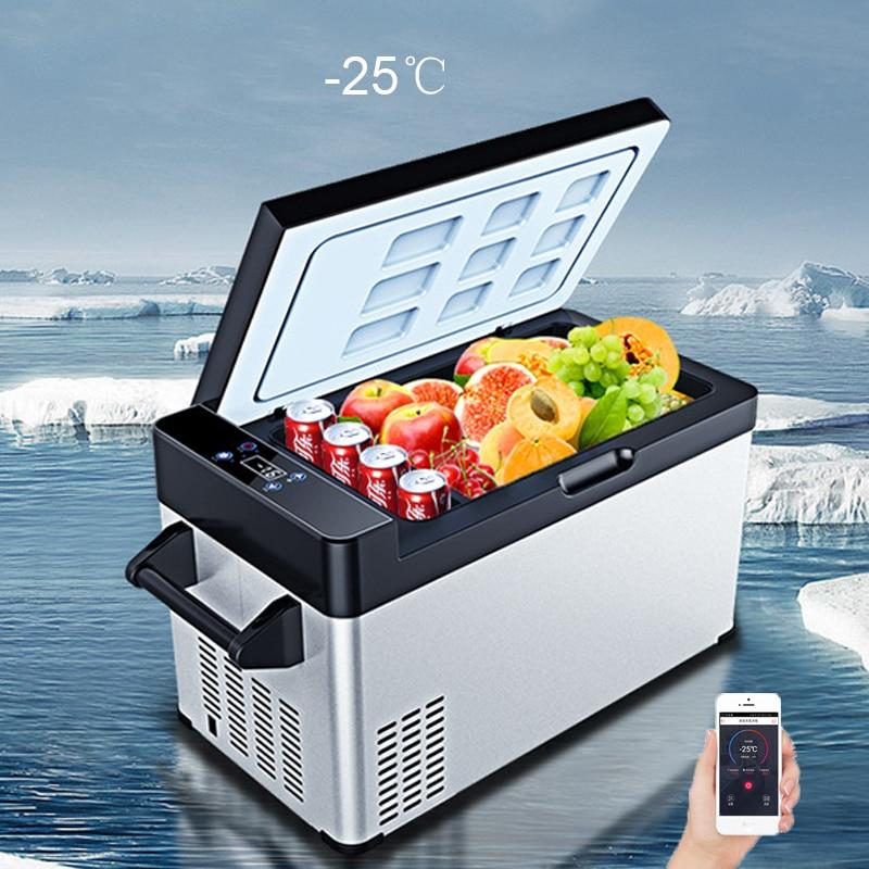 28L Mini Refrigerator Compressor Mini Fridges APP Control Car Home Dual-use Portable Fridge Portable Camping 12v Refrigeration