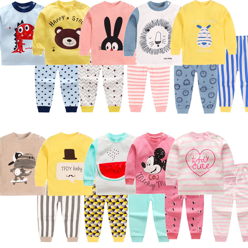 2018 children Autumn Pajamas clothing Set Boys & girls Cartoon Sleepwear Suit Set kids long-sleeved+pant 2-piece baby clothes carter s 2pcs baby children kids 2 piece bodysuit pant set 121h158 sold by carter s china official store