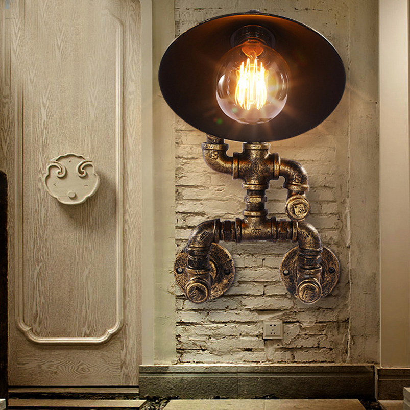 Retro Loft Iron water Pipe robot wall lamp creative restaurant bedroom living room stair aisle corridor study pub cafe lamp bra nordic retro loft lamps clain necklace lights cafe restaurant bar pub living room dining room club pub aisle stair hall lamp