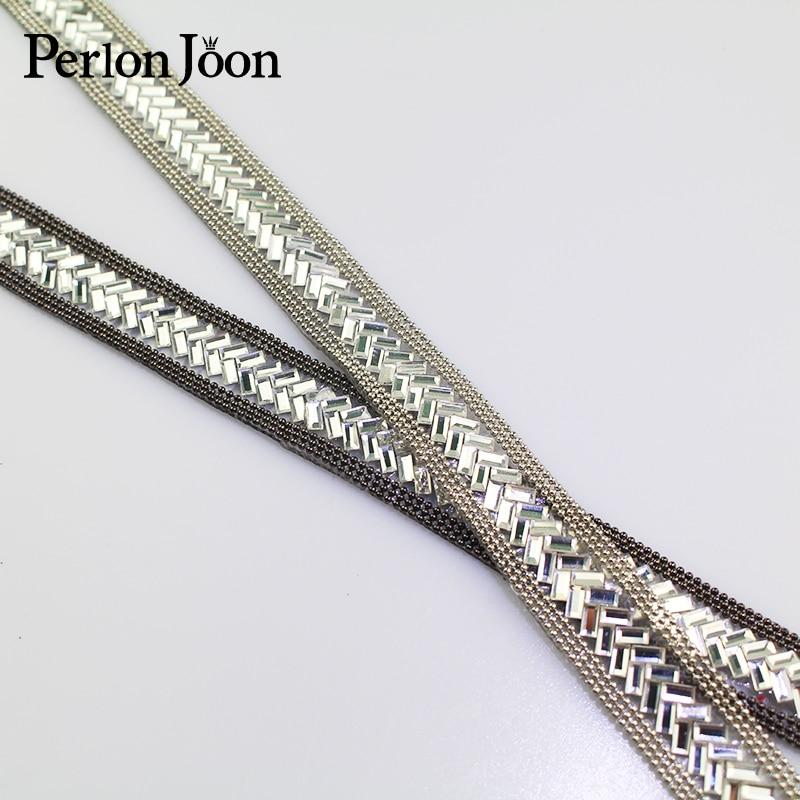 1 Yard 1.6cm Width V Arrange Motif Glass  RhinestoneTape Trim Hot Fix Ribbon Iron On Appliques For Dress Shoe Adornment TR002