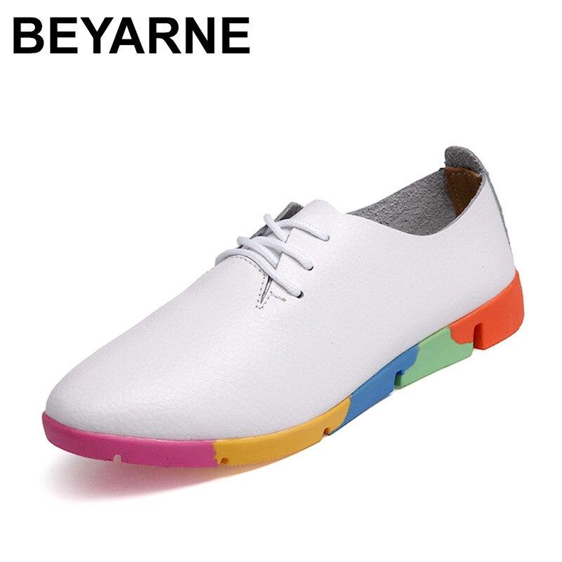 Noir Beyarne Ballerines blanc Femmes Pointu Casual Blanc Noir Ciel Véritable Bout En Cuir Mocassins pu Lacent Femme orange Oxford Chaussures Dames rwaqArt
