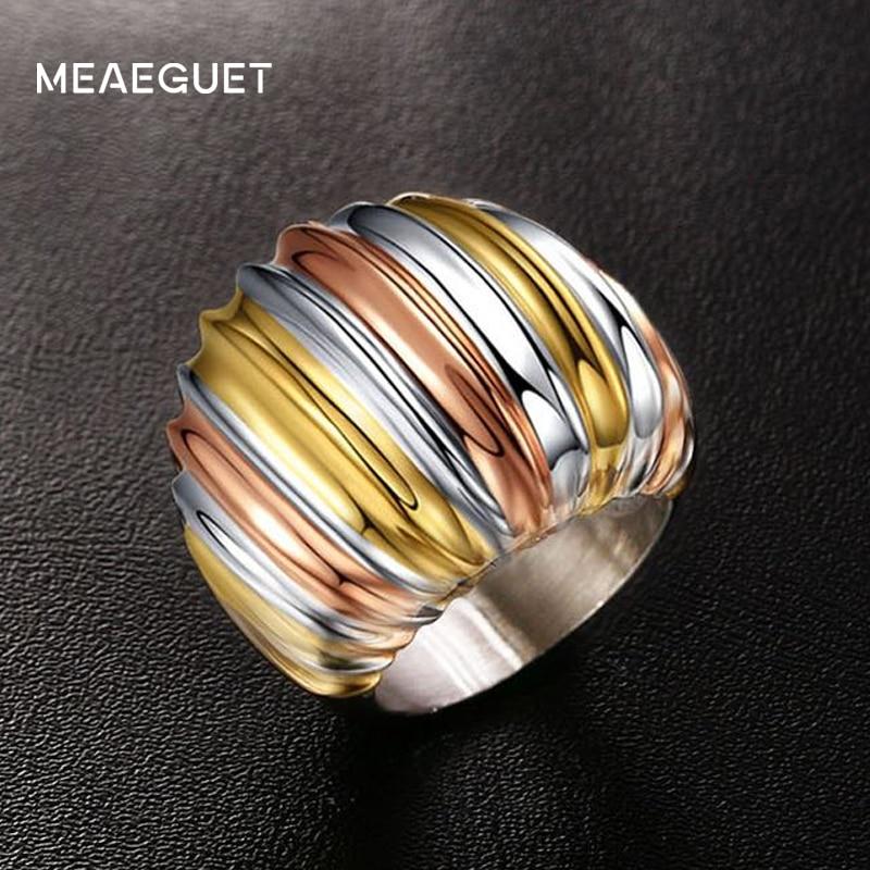 Prix pour Meaeguet Classique Trois-couche Couleur Acier Inoxydable Anneaux De Mariage Pour Les Femmes Exagéré Bagues Cocktail Party USA Taille 6-9