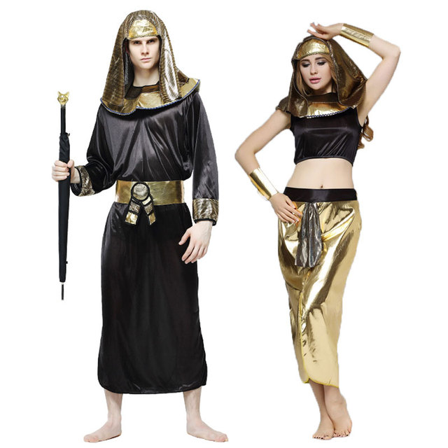 bfa76acf1 Umorden Ancient Egypt Pharaoh Cosplay Men Cleopatra Costume Women Halloween  Party Fancy Dress for Adult Couple Lovers Gold