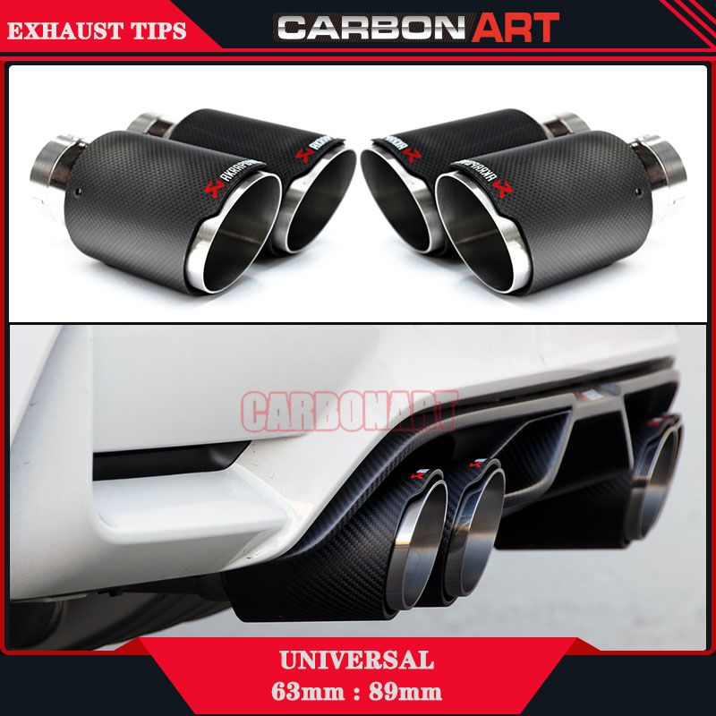 ФОТО 1 pc Car Carbon Fiber Akrapovic Exhaust Tips Muffler Pipe (2*3.54 inch)