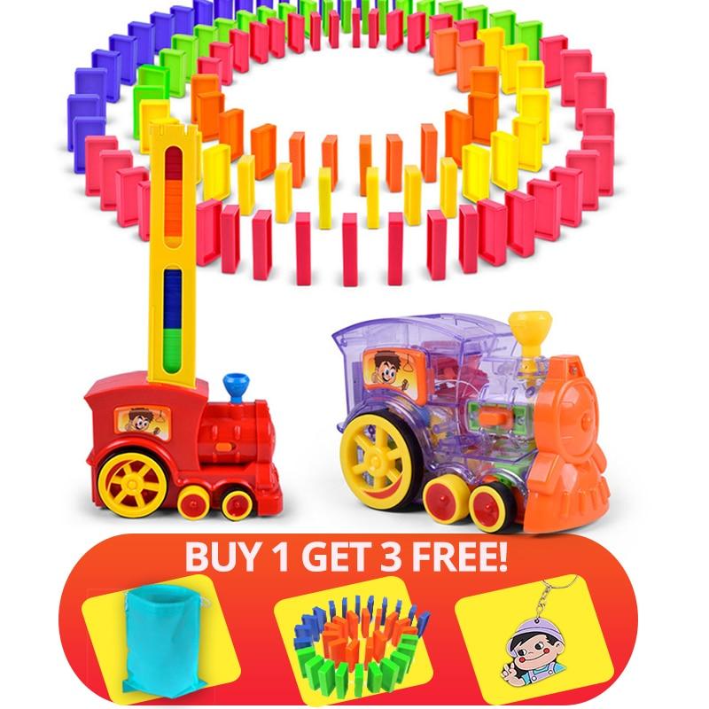 60 + 20 stücke Zug Elektrische Domino Auto Fahrzeug Modell Magische Automatische Set Up Bunte Kunststoff Dominosteine Spielzeug Geschenk Spiel für Junge Kinder