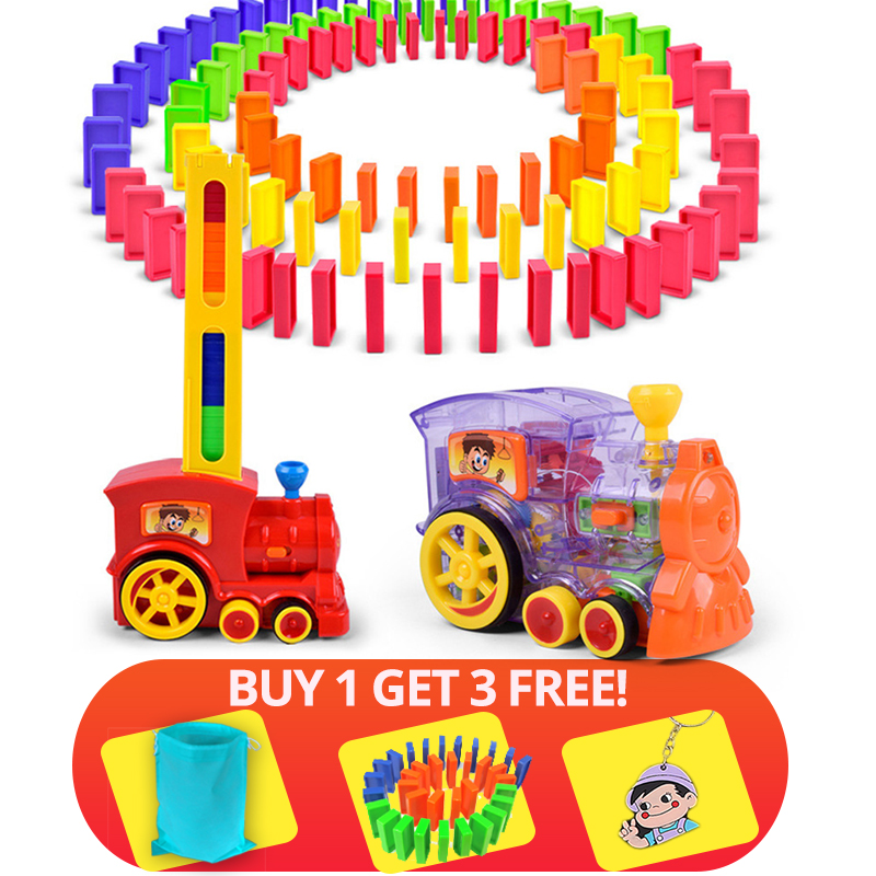 60+20pcs Train Electric Domino <font><b>Car</b></font> Vehicle Model Magical Automatic Set Up Colorful Plastic Dominoes Toys Gift Game for Boy Kids image
