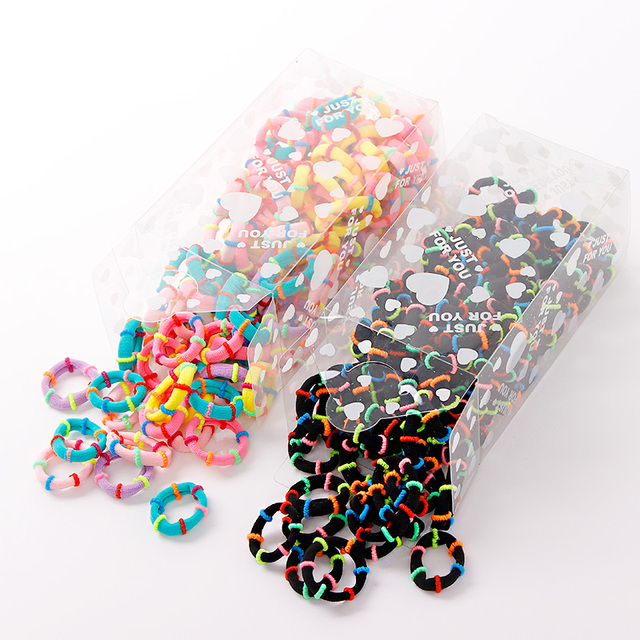 100PCS/Lot 3CM Cute Small Ring Rubber Bands Tie Elastic Hair Band 1