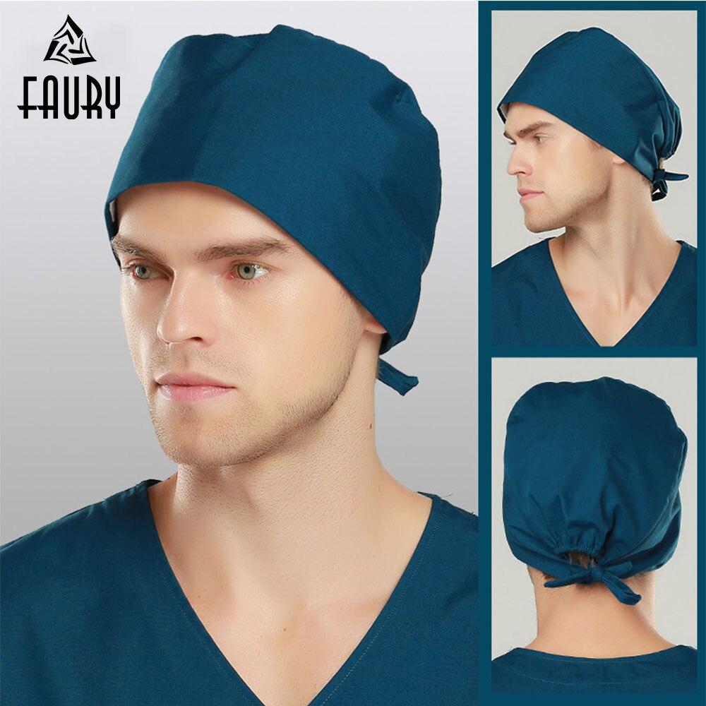 Hospital Surgical Cap Medical Caps Women Men Design Nurse Caps Uniform Adjustable Cotton Doctor Hats