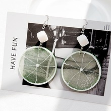 SUKI 1 pair Ins Cold Wind Dangle Earrings Fruit Lemon Drop Exquisite Lime Pendant Simple Personality Fun