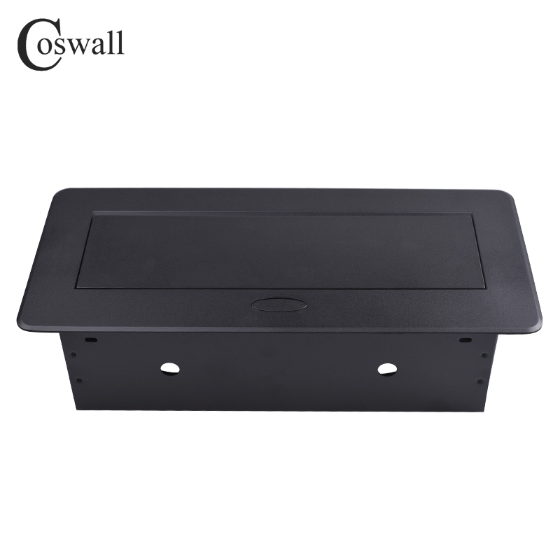 Plaque en alliage de Zinc COSWALL 16A lente POP UP 2 prises EU double Port de Charge USB 2.1A prise de Table de bureau couverture noire mate - 4