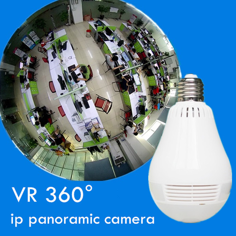 wireless ip camera HD MEGA network vr Panoramic Fisheye light bulb v380 software 360 degree support max 128g MSD card erasmart hd 960p p2p network wireless 360 panoramic fisheye digital zoom camera white