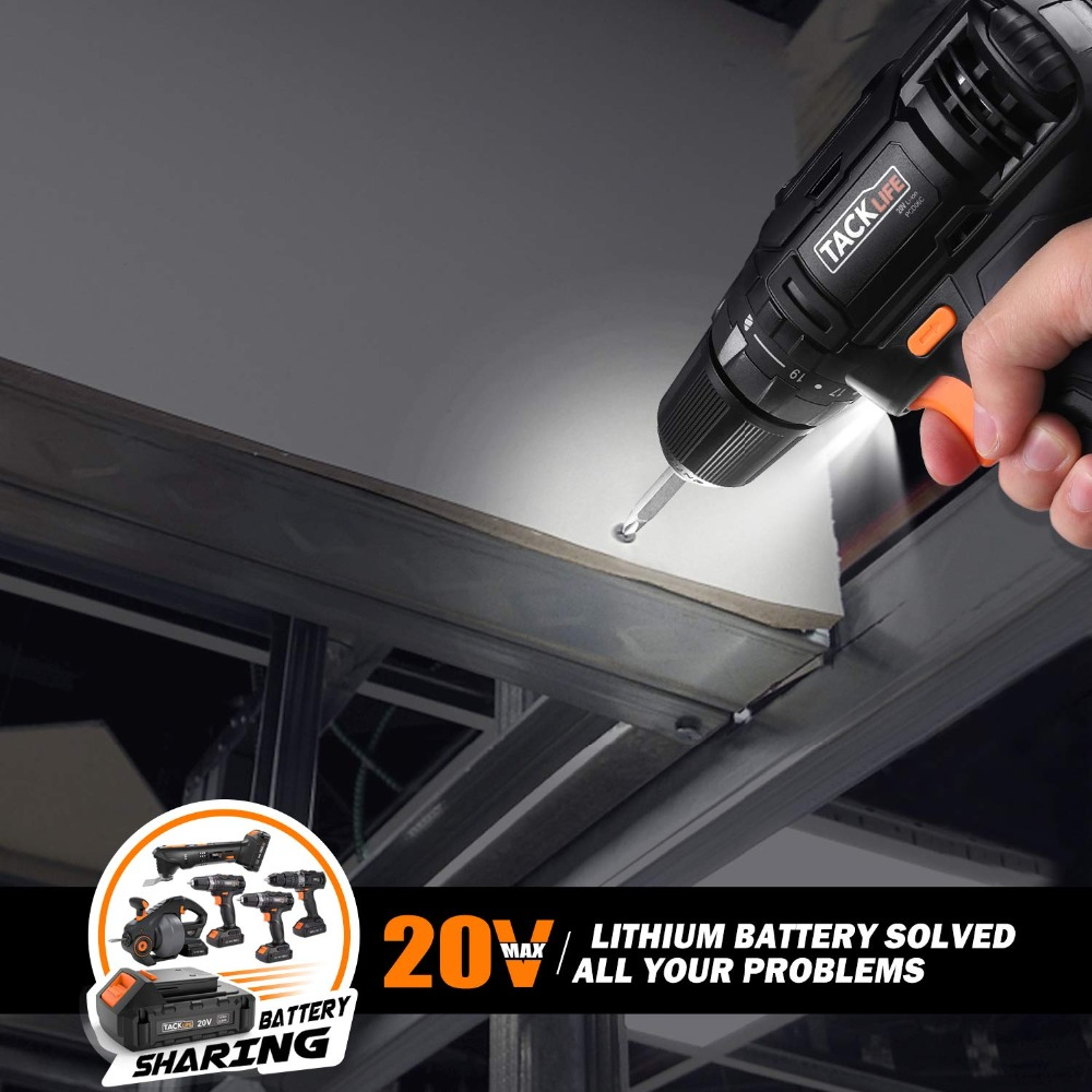2 Adjustable Speed PCD06B TACKLIFE 20V Cordless Drill Driver Max Torque 265 in-lbs,19+1 Torque Settings with LED,1.5Ah Lithium Battery Pack and Charger 3//8 Metal Chuck