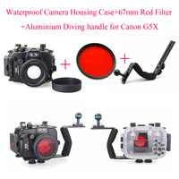 Meikon 40m/130ft Underwater Diving Camera Housing Case for Canon G5X+Aluminium Diving handle+67mm Red Filter,Waterproof Bag Case