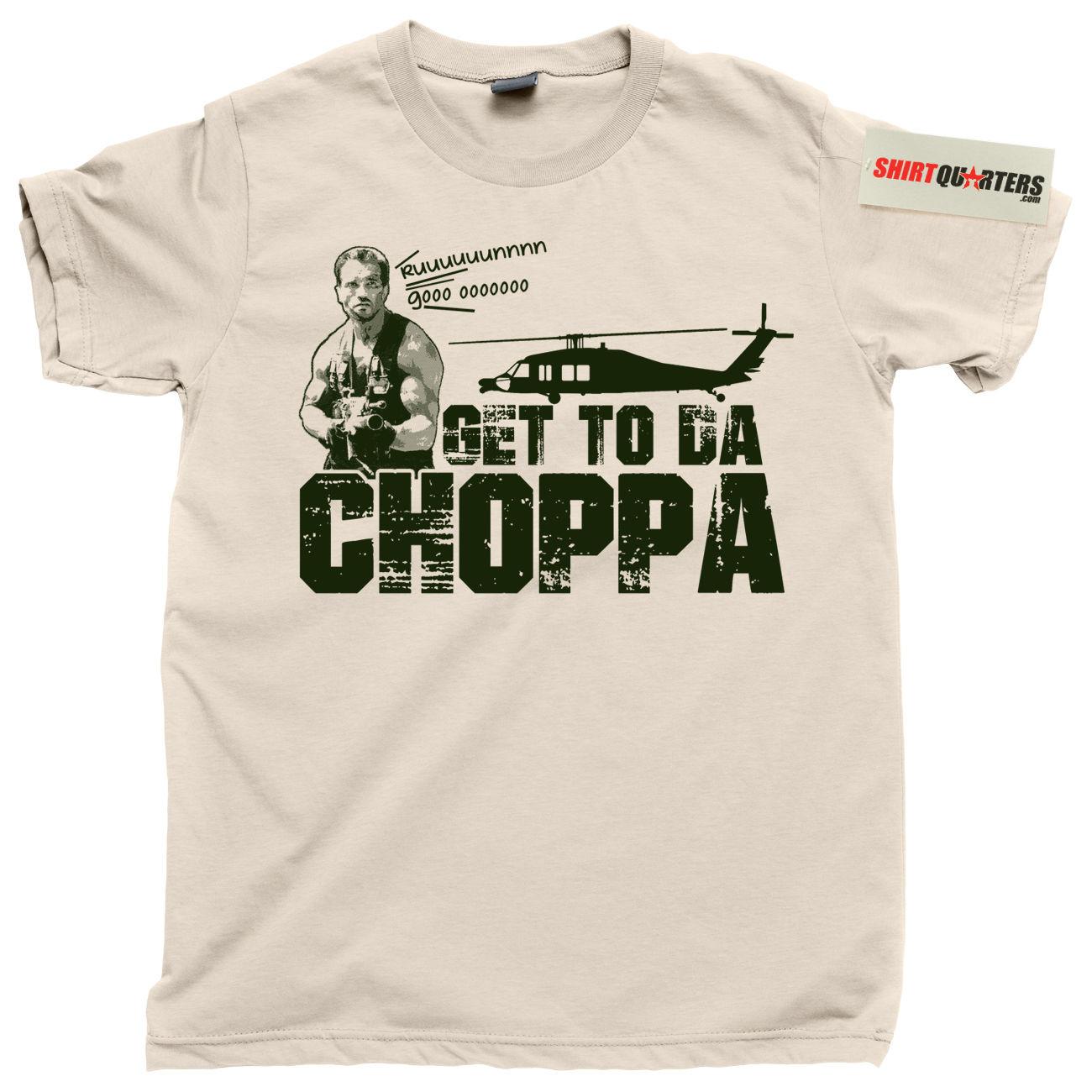 2018 Summer Fashion Hot The Predator 2 3 Arnold Schwarzenegger Get To The Da Choppa Chopper Dvd   T     Shirt   Tee   Shirt