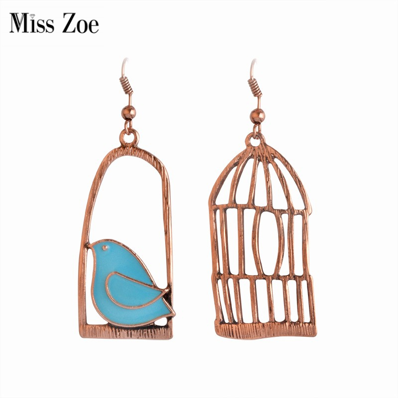 Мисс Зое, милые Креативные Винтажные серьги, эмаль, птица, клетка, бронзовые серьги-капли, женские серьги, Brincos de gota feminino
