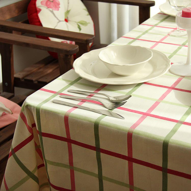 Warm Grid Country Style Cotton Tablecloth End Table Cover Kitchen
