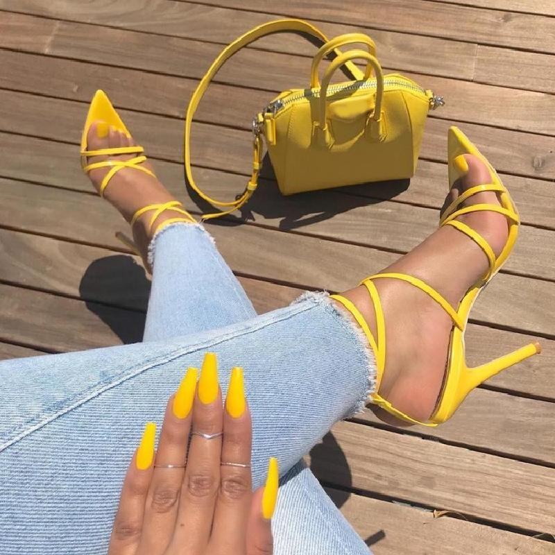 Women Summer Solid Color Sexy Narrow Band Cross Tied Sandals Fashion Ankle Buckle Strap Hollow Out High Heel Dress Shoes v cut solid romper with tied strap