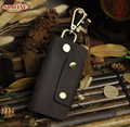 High Quality Vintage 100% Genuine Leather Natural Cowhide Men Men's Car Key Wallet Wallets Holder Bag Case Housekeeper For Man