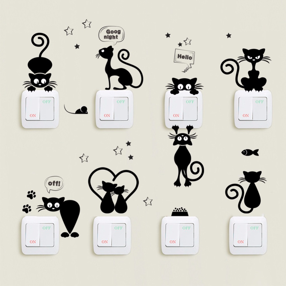 Black Funny Cat Switch Panel Stickers Kids room Nursery