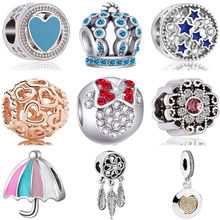 European Crystal Umbrella Crown Shoes Key Dreamcather Mickey Beads Fit Pandora Charms Bracelets & Bangles for Women DIY Jewelry(China)