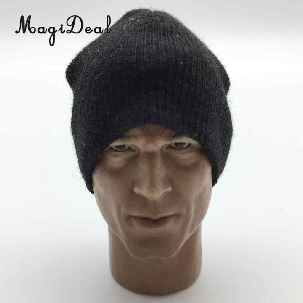Magideal 1/6 Schaal Knit Mens Black Gebreide Cap Hoed Voor 12 Inch Action Figure Body Model Poppen Podium Display Dagelijks wear Party Acc
