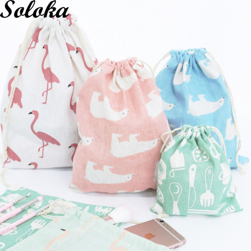 1Pc 5 Type Cotton Non-woven Fabric Storage Package Drawstring Bags For Women Candy Color Sack Backpack