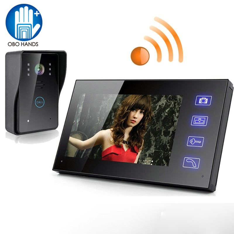 7 Wireless Video Doorbell Video HD Smart Villa Building Intercom Monitor Electronic Access Control for Home/Apartment 806MJW11 7 inch video doorbell tft lcd hd screen wired video doorphone for villa one monitor with one metal outdoor unit night vision