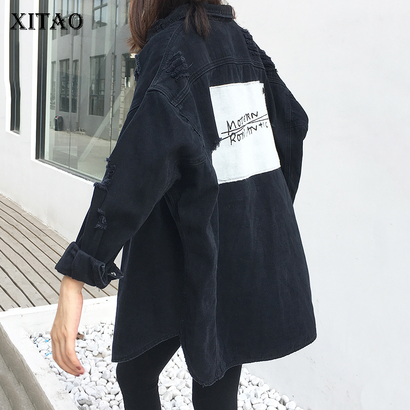 [XITAO] New 2018 Spring Korea Fashion Women Turn-down Collar Full Sleeve Single Breasted Hole Patch Designs Denim Jackets KZH458 stylish turn down collar broken hole single breasted sleeveless denim dress for women