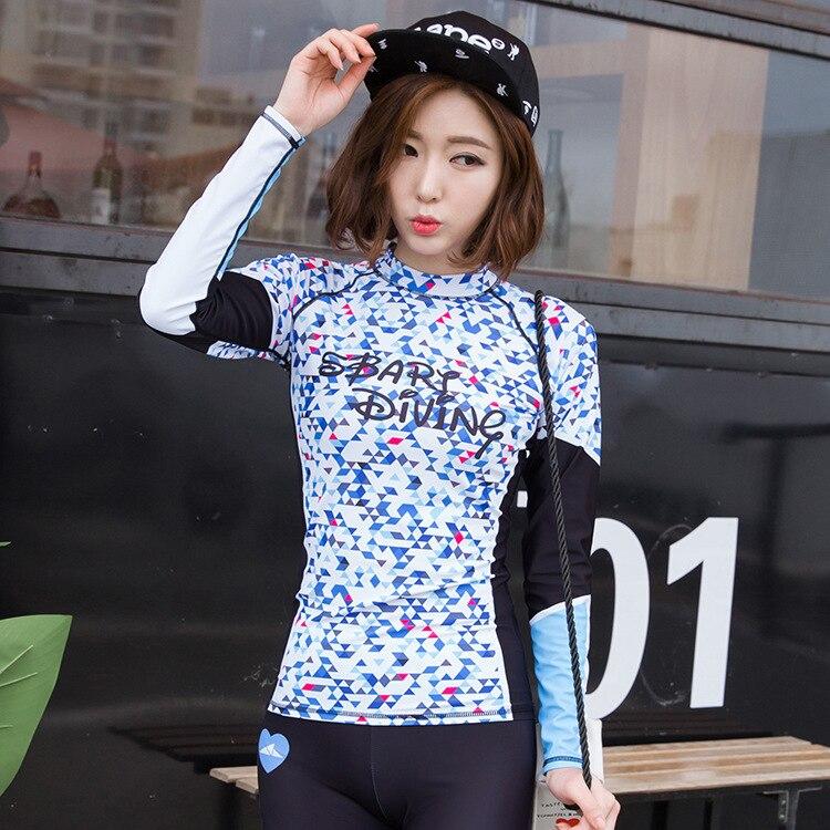 sbart Korean version diving suit Woman Snorkeling Sunscreen Jellyfish Clothes anti-friction Surfing Long Sleeve Swimming tops sbart upf50 rashguard 2 bodyboard 1006