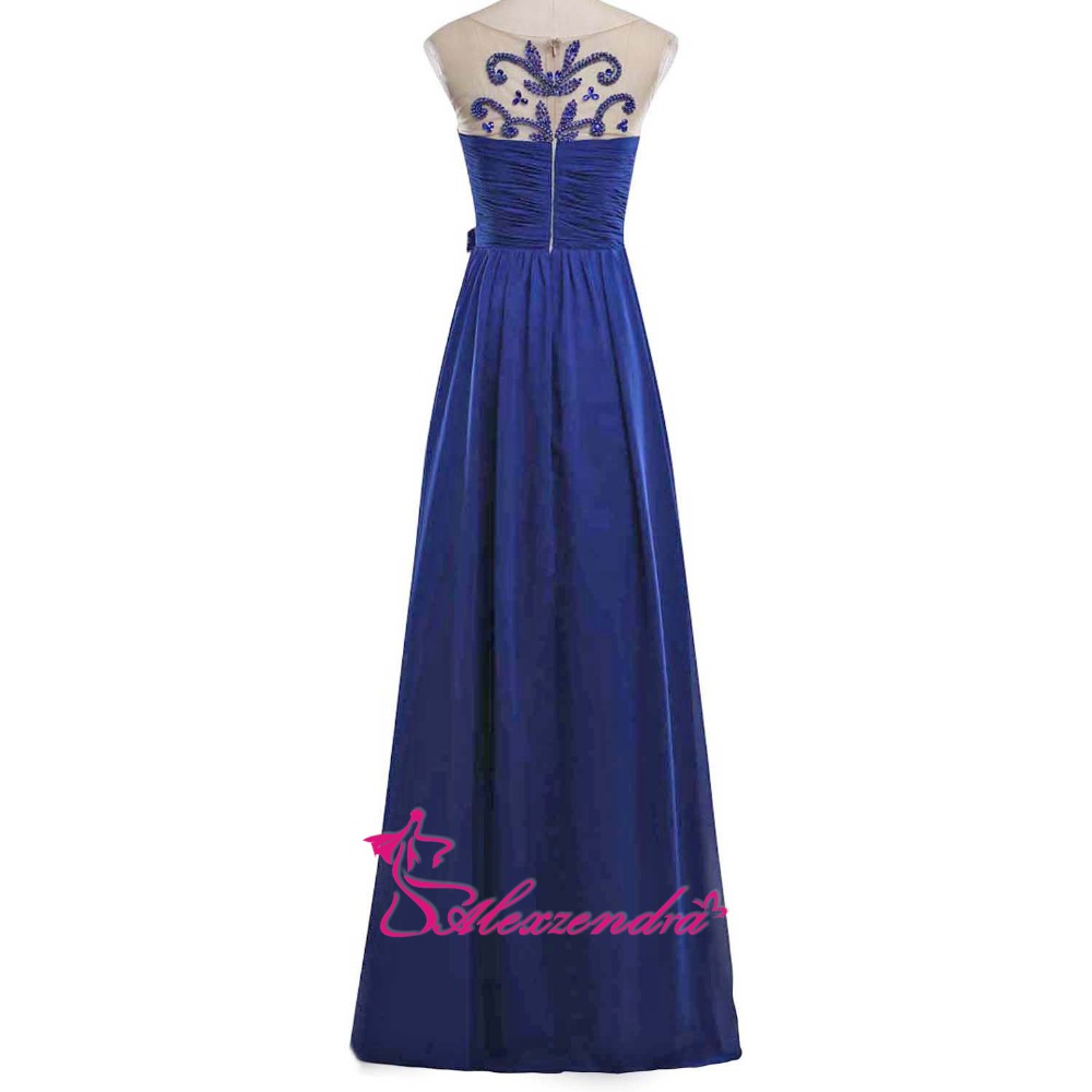 Alexzendra bleu Royal perlé une ligne robes de bal encolure dégagée en mousseline de soie longues robes de soirée robe de soirée - 2