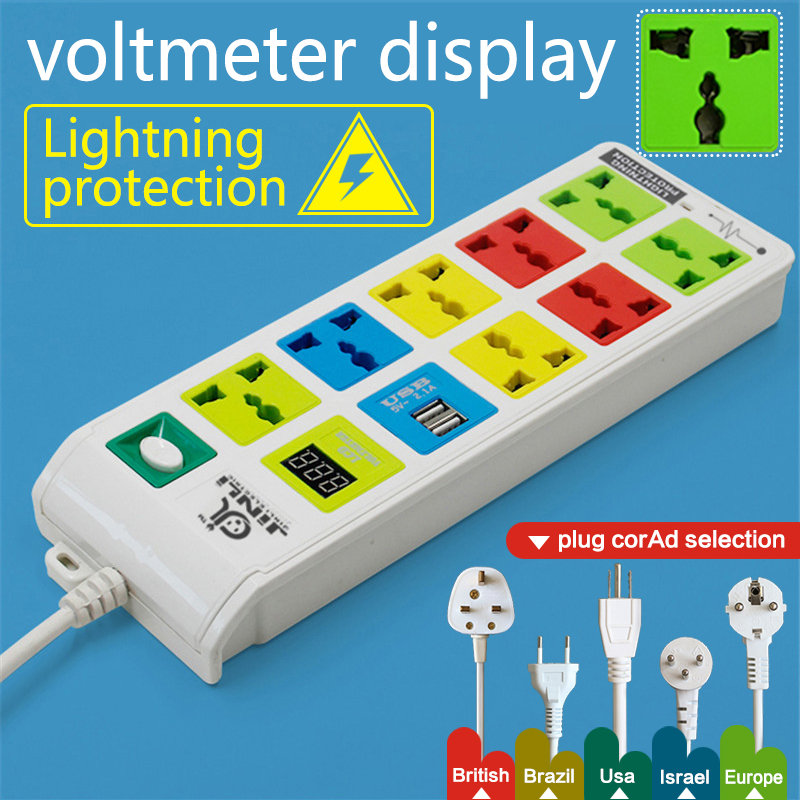цена на 8 Outlet & 2 USB Charging Port power socket, power strip EU UK US with LED voltmeter Power Strip