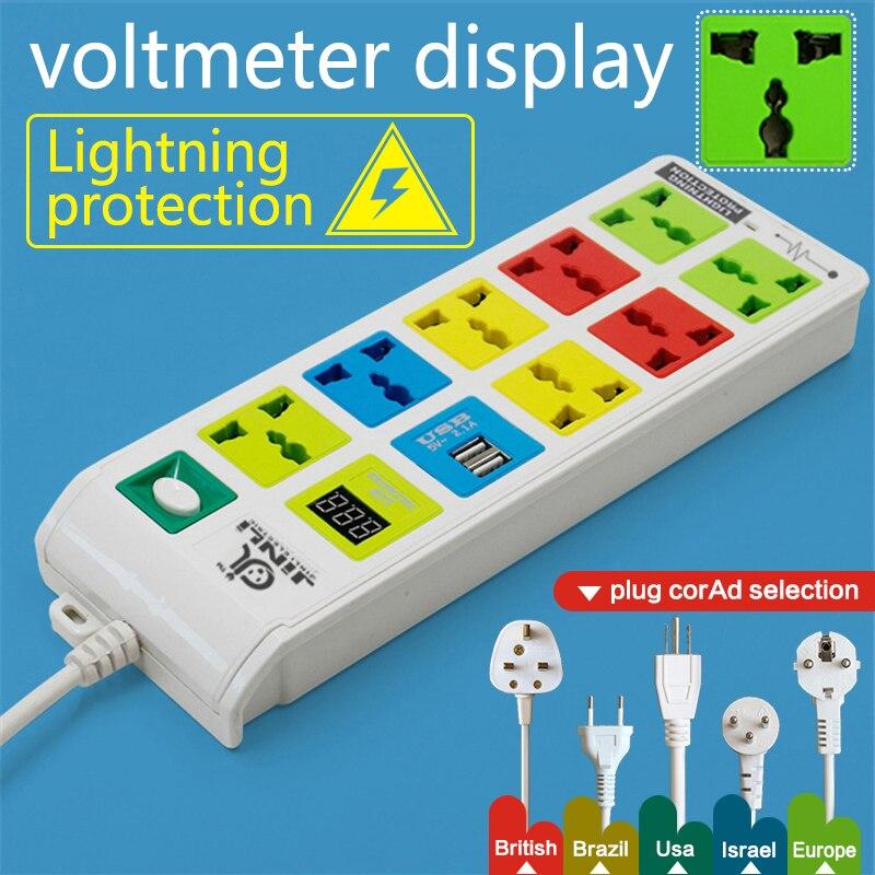Prise de courant à 8 prises et 2 ports de charge USB, multiprise EU UK US avec multiprise voltmètre LED