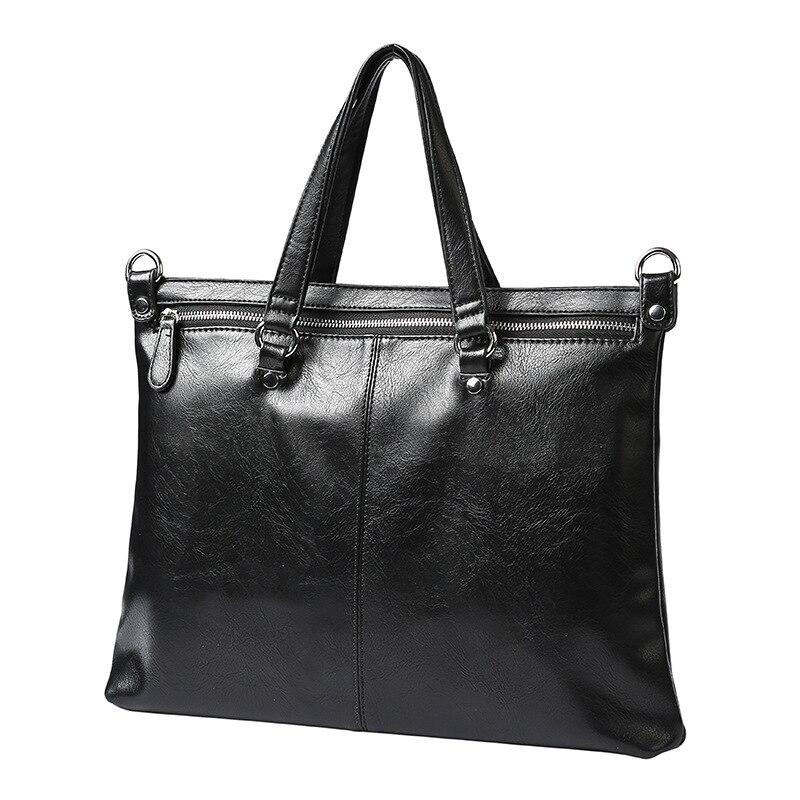 Casual Business Men Crossbody Bag PU Leather Big Handbags Large Capacity Shoulder Bags Black Mens Messenger Bag Vintage Tote