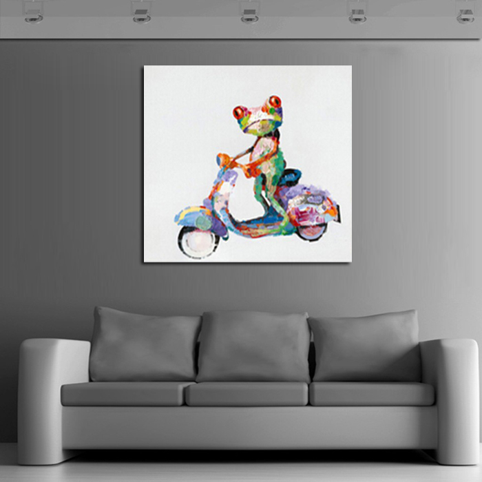 NEW 100% hand painted animal Oil Painting on Canvas Abstract Animal Wall Art for Home Decoration funny frog ride a bike -in Painting u0026 Calligraphy from Home ... & NEW 100% hand painted animal Oil Painting on Canvas Abstract Animal ...