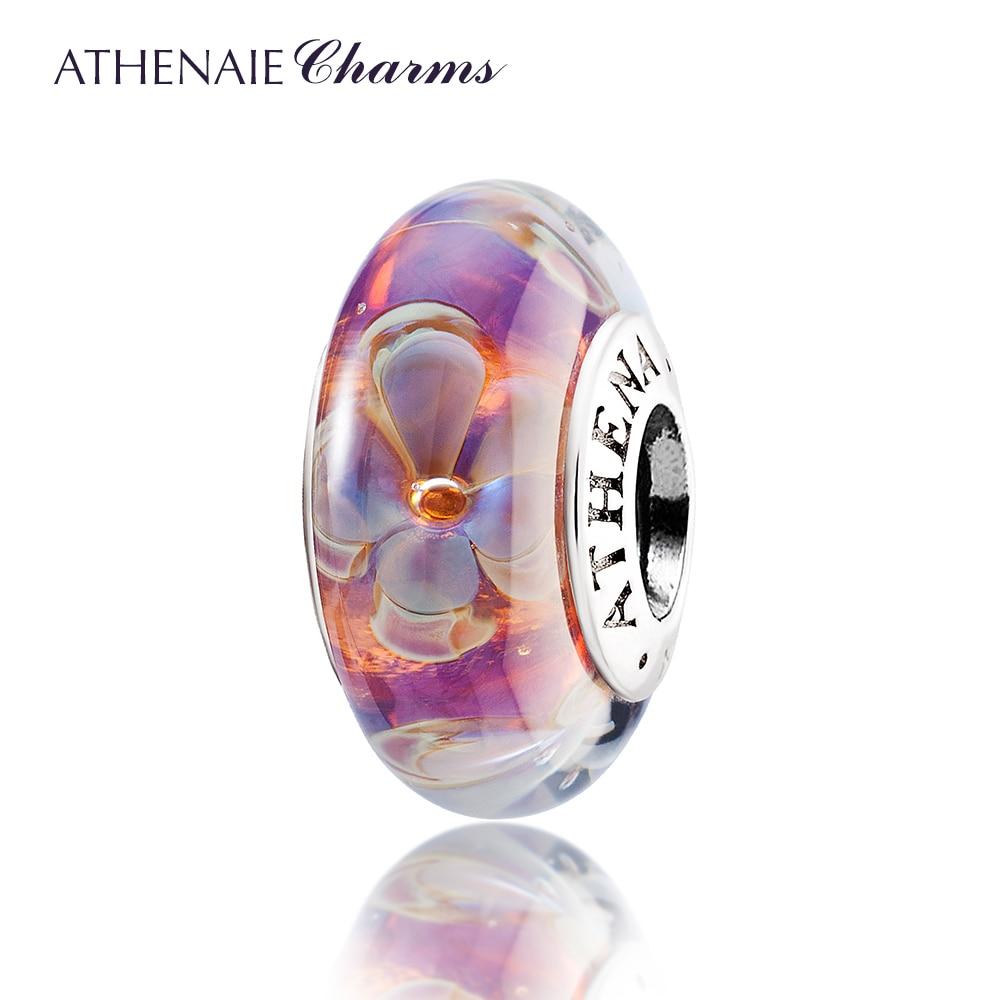 ATHENAIE Genuine Murano Glass 925 Núcleo De Prata Cinco-Petaled Flores Encantos Contas Fit Pandora Pulseiras e Colares de Cor Roxa