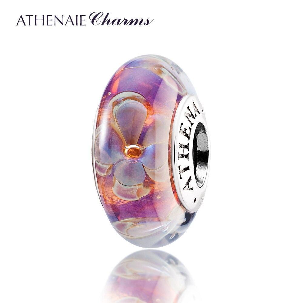 Athenaie original Murano Glas 925 Silber Core Fünf-Petaled Blumen Charme Perlen Fit Pandora Armbänder und Halsketten Farbe Lila
