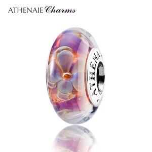 Image 1 - Athenaie original Murano Glas 925 Silber Core Fünf Petaled Blumen Charme Perlen Fit Pandora Armbänder und Halsketten Farbe Lila