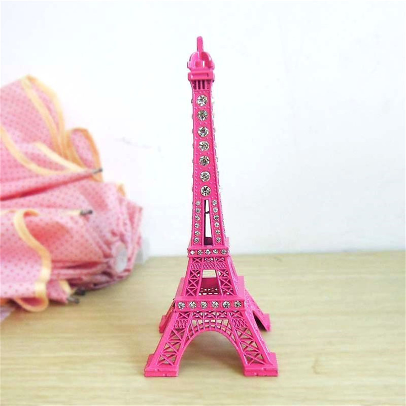 1 Piece Pink Paint Metal Crystal Eiffel Tower Ornaments Miniature Figurines 18x7cm Architecture Model Crafts Home Decoration